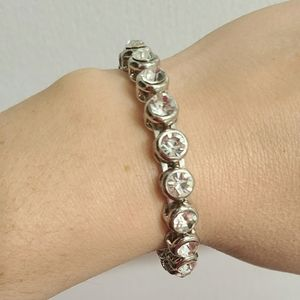Clear Rhinestone Snap Bracelet